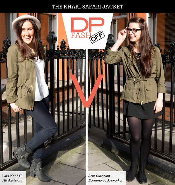 Dorothy Perkins (@Dorothy_Perkins): First up - the Safari Jacket. Check out how Lara & Jeni styled it, tell us what you think & RT to win it! #dpfashoff http://t.co/LN9zVVC7