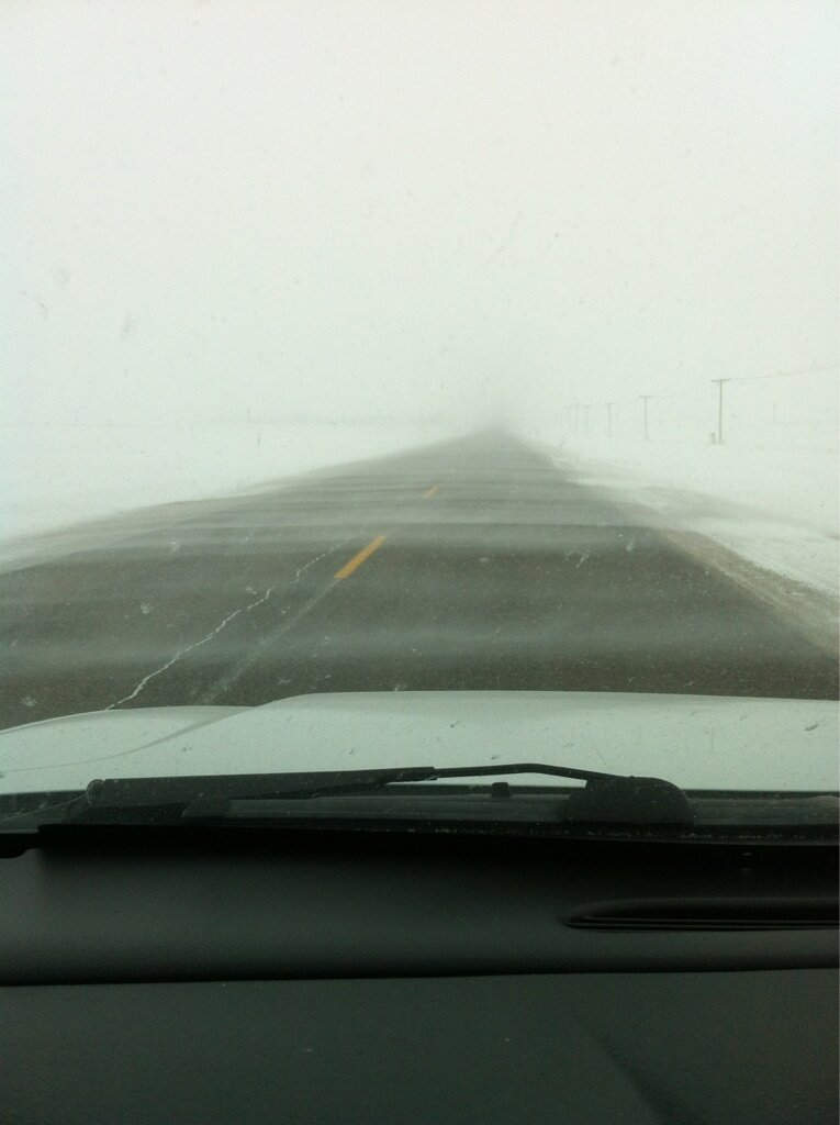 Blowing snow on Highway 311