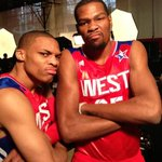 Getting ready for the 2013 #NBAAllStar Game with @kdtrey5 @russwest44