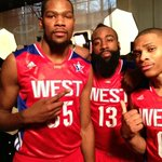 Getting ready for the 2013 #NBAAllStar Game with @kdtrey5 @russwest44 @jharden13