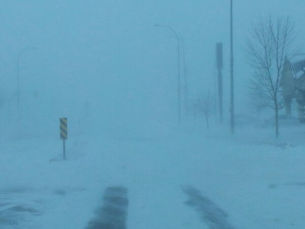 Blowing snow in Winkler, MB on Monday morning.