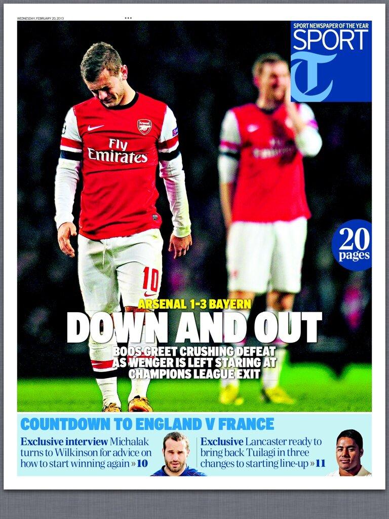 The back pages after Arsenal 1   Bayern Munich 3