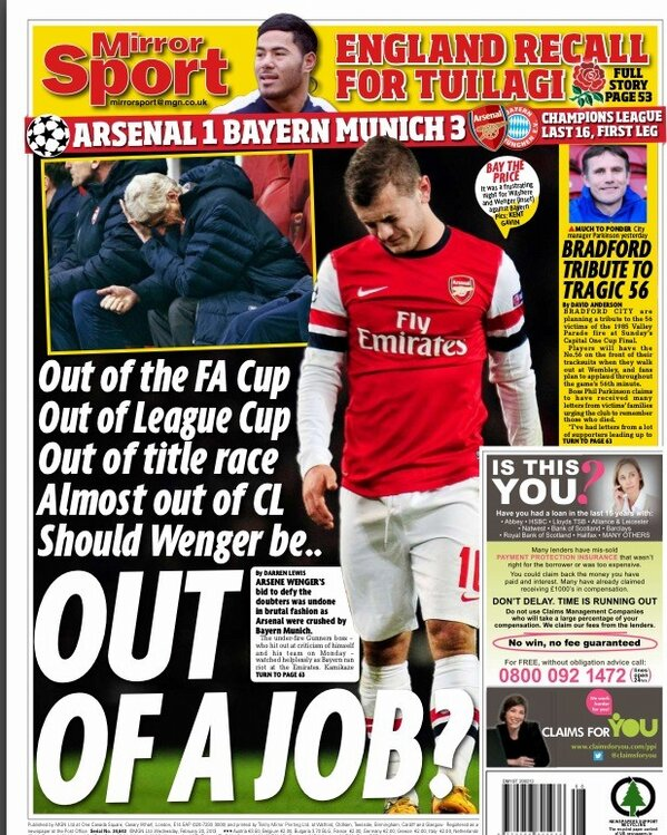 BDgEUfICcAAE1WU The back pages after Arsenal 1   Bayern Munich 3