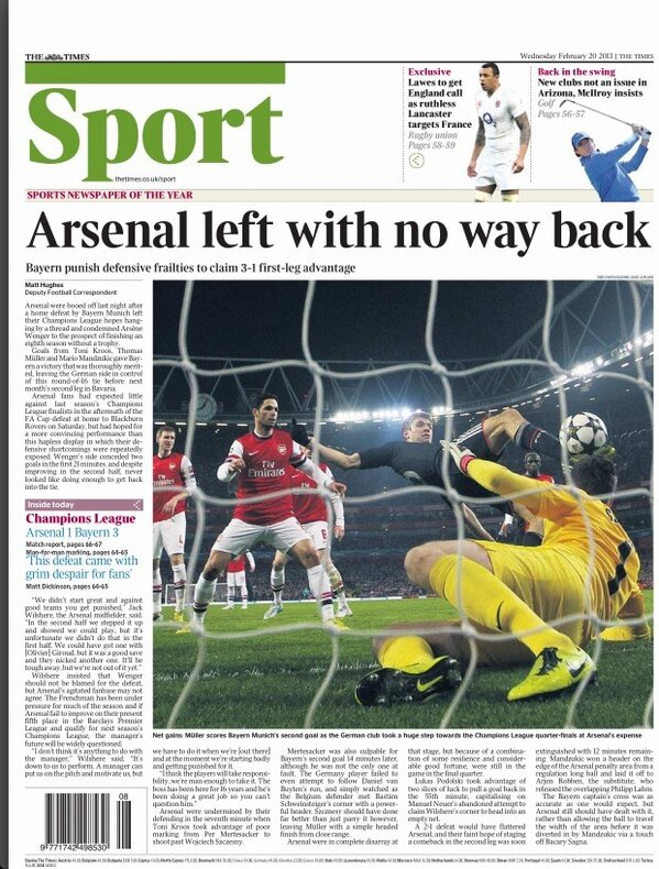 BDgHNuQCEAEXzqI The back pages after Arsenal 1   Bayern Munich 3