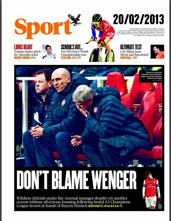 BDgJTqHCMAAyKpC The back pages after Arsenal 1   Bayern Munich 3