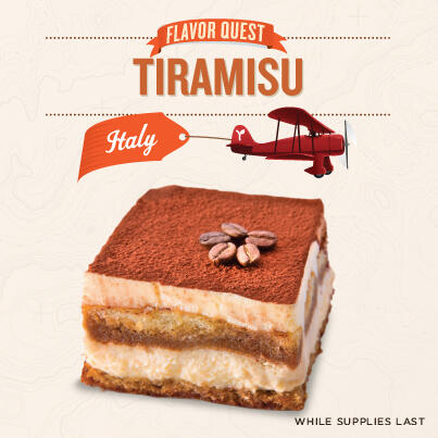 Jetsetters, take your tastebuds to Italy with Tiramisu, made with real ladyfinger vanilla cookies soaked in espresso! http://t.co/wirGoznBHb