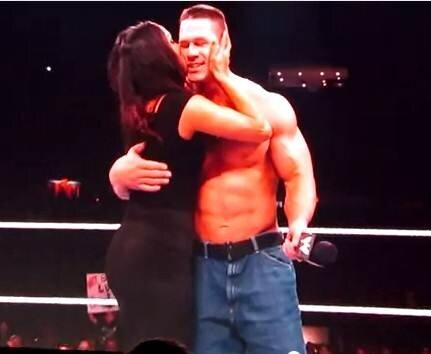 Nikki Bella kissing John Cena when Raw went off air last year on his ...
