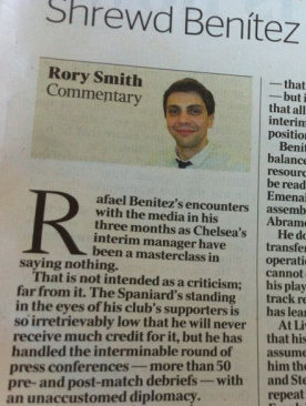 Damn Deadlines! The Times article on Rafa Benitez filed at 5.30pm on Wednesday