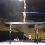 2012 American Cup champ @DanellJLeyva trains on parallel bars for Saturday's #ATTAC2013. Will he win again?