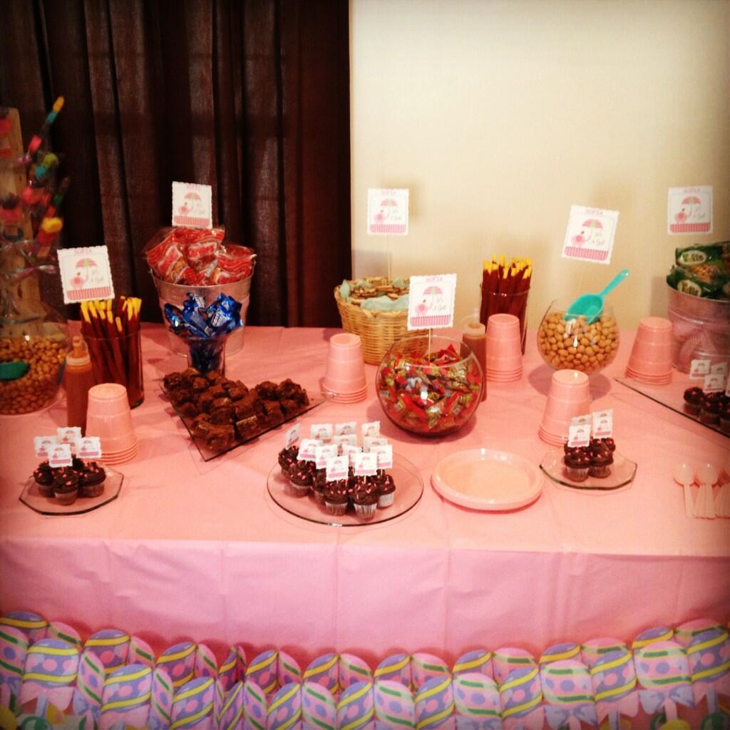 mesa de dulces y postres para baby shower quedelissia