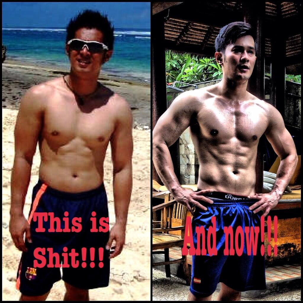 Auuuumm! Yang kanan mirip CR7. :'O RT @afdhal_10: Really like this pict, before and after transformation my body http://t.co/gIhfjdSH5G