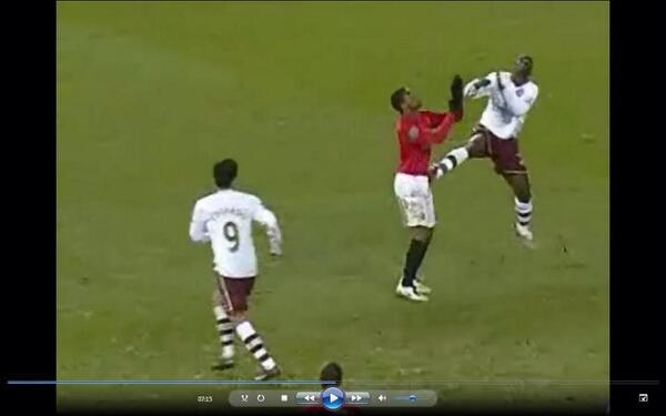 BEqe7 8CQAAFVY4 Arsenals Emmanuel Eboue was sent off at Old Trafford in 2008 for a Nani esque challenge