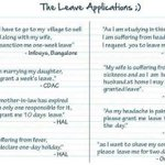 Funny! RT @krishdk: Ha ha ha ha! Funny leave applications.