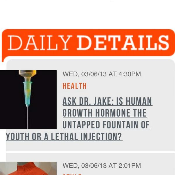 Dr Jake Deutsch (@DrJakeDeutsch): Ask Dr jake: Is Human Growth Hormone the fountain of youth? @DETAILS #antiaging http://t.co/a4KUBad2Wo
