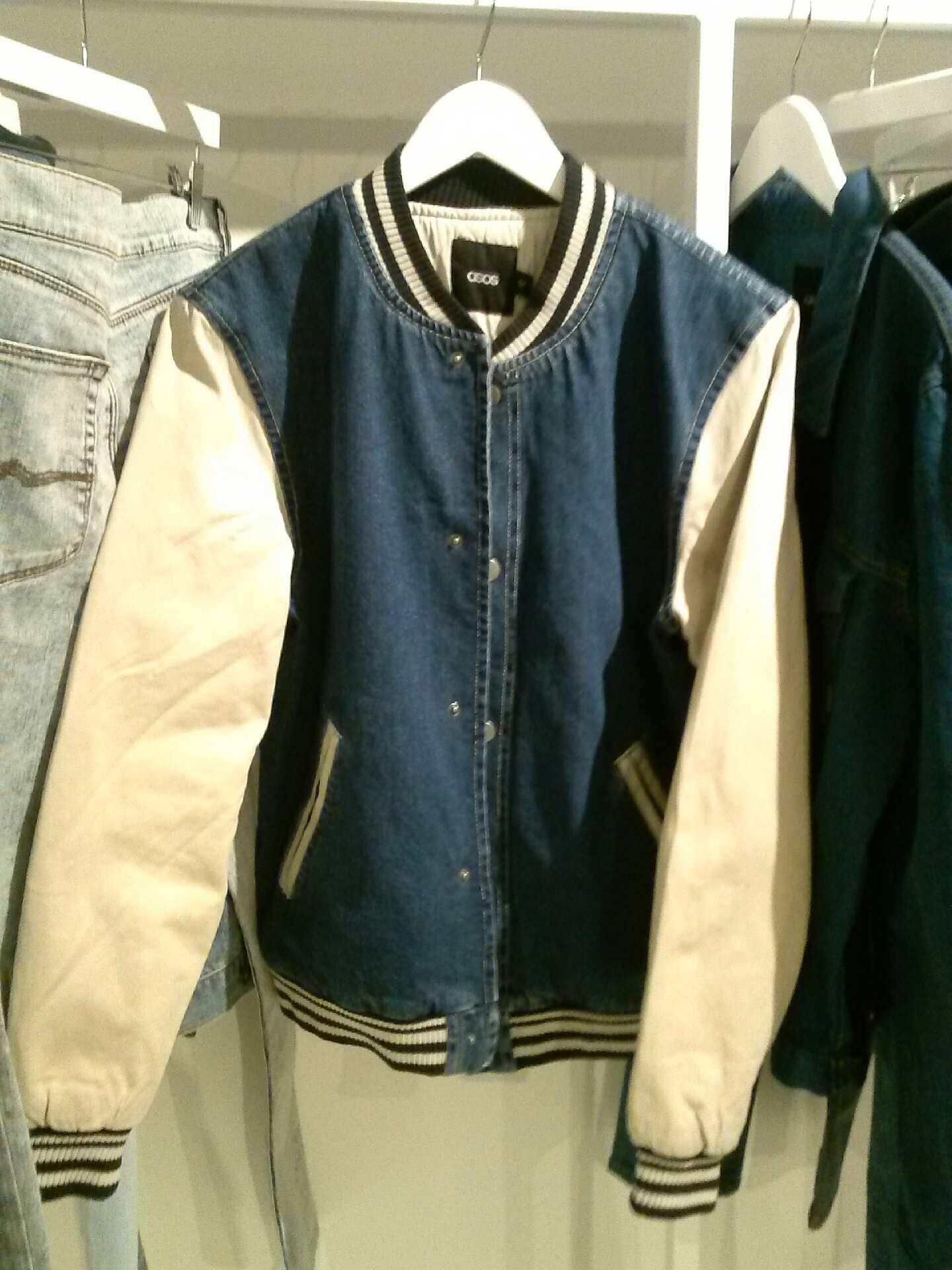 Checking out the new collection @ASOS_US. Some highlights...the denim mix varsity jacket is dope. http://t.co/ezYGINiOq9