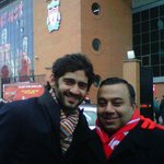 That's @ayush_lfc & me freezing before kick off. Suarez & Gerrard got us warm inside.