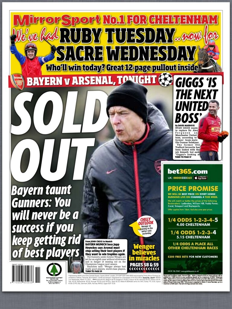 Gunners Give In, Disarray & Sold out: Arsenal slammed in Wednesdays back pages