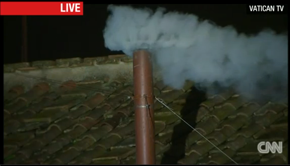 A signal of #whitesmoke rises indicating a new #pope has been chosen! Watch the event live on http://t.co/p3ooOTreoI http://t.co/Ih45OQOJQV