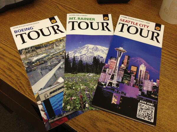 Look what arrived!!! #newbrochures #travel #seattle #tours #mtrainier #boeing http://t.co/HYTtegoKXD