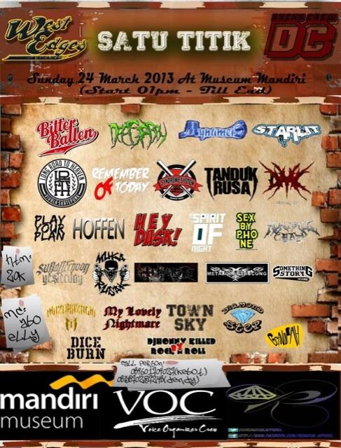 Next show: Minggu, 24 Maret 2013 @ Museum Mandiri. My Name Is, Syndrome System, LRTH, Tanduk Rusa, dll. HTM: 20rb http://t.co/CsNR5G62sF