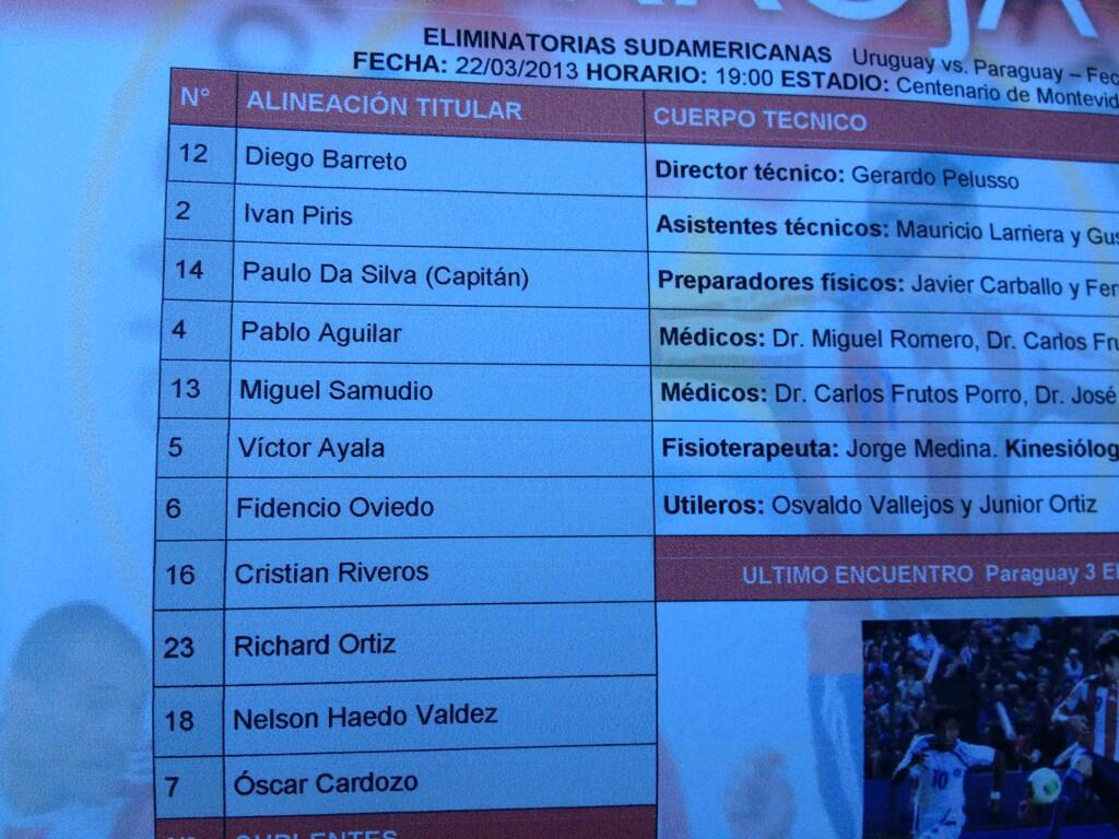 Confirmado Paraguay, estos son los 11 que enfrentarán a Uruguay CC: @sosajorge1982 http://t.co/y0CmYcRELv