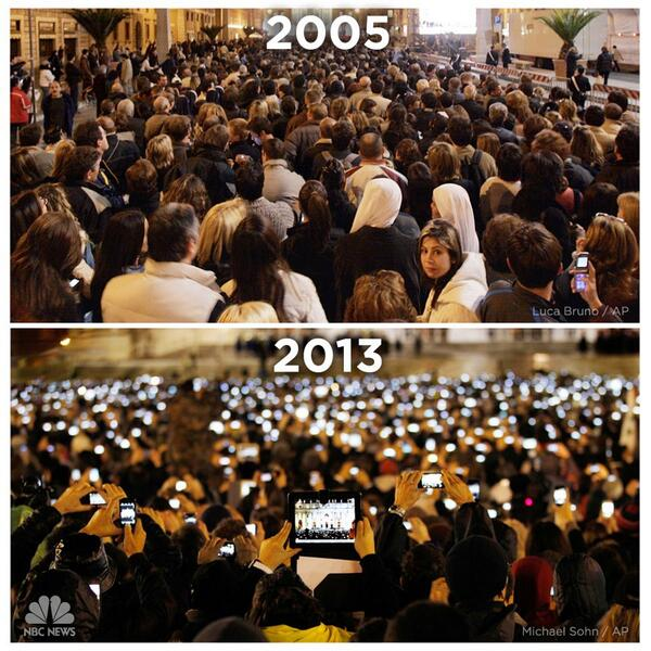 St. Peter's Square 2005 vs 2013 (The first iPhone was released in 2007) http://t.co/sjdqZsmI6o