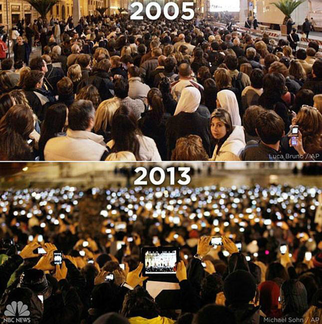 '@Nikgaturro: De Benedicto a Francisco. Yo no sé si cambió algo en la Iglesia... ¡¡Pero en la tecnología!! http://t.co/31ovIz781R'