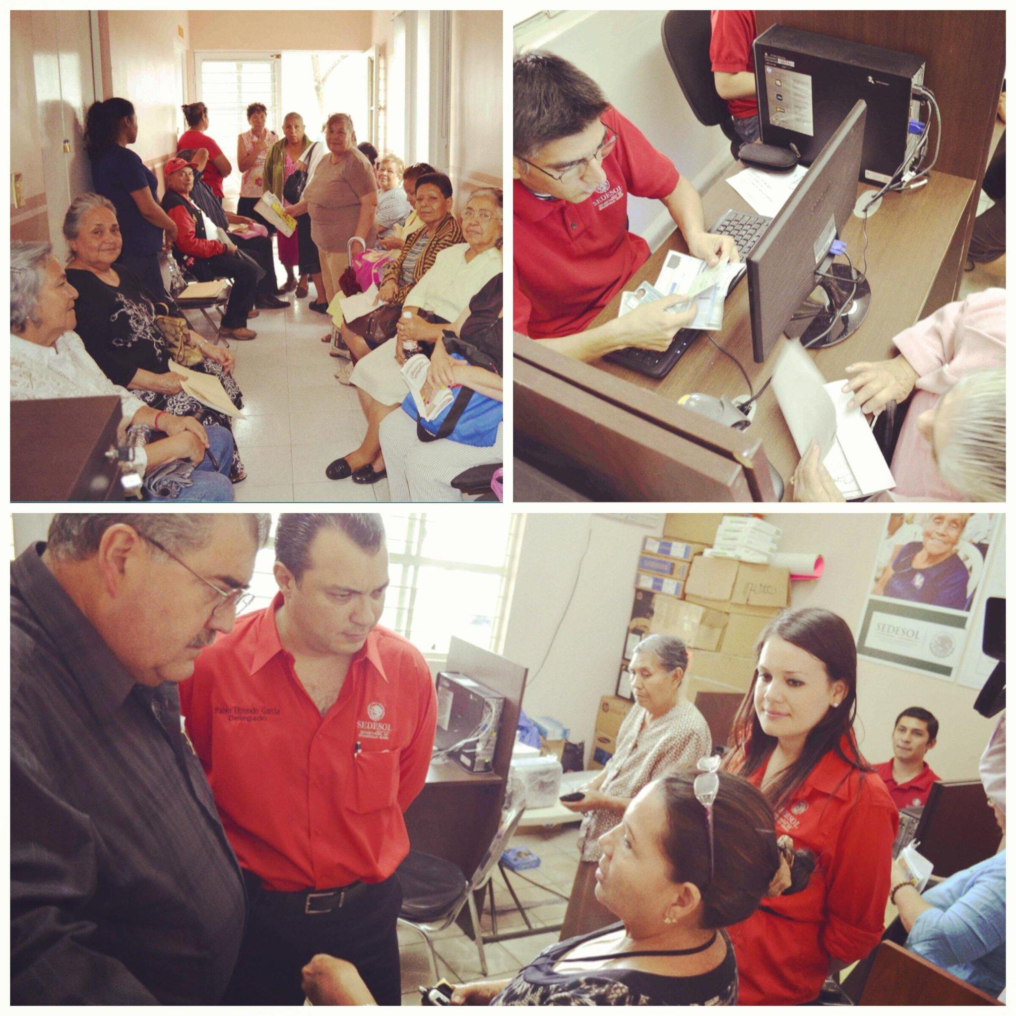 """Más de 300 adultos mayores se registraron hoy en el arranque del programa """"65 y más"""" que les brinda apoyo monetario http://t.co/yuioDK312M"""