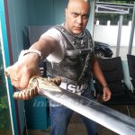 Singer @OnlyBabaSehgal 's Costume rehearsal for Rudrama Devi. He will be seen in a role in this movie http://t.co/nCkcTL8fxL