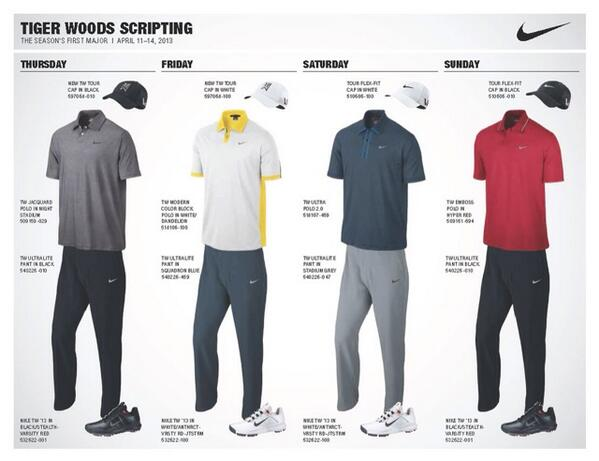 RT @RexHoggardGC: Tiger's scripted wardrobe for the Masters. And yes, he is wearing red on Sunday. http://t.co/avo7w7lqxV