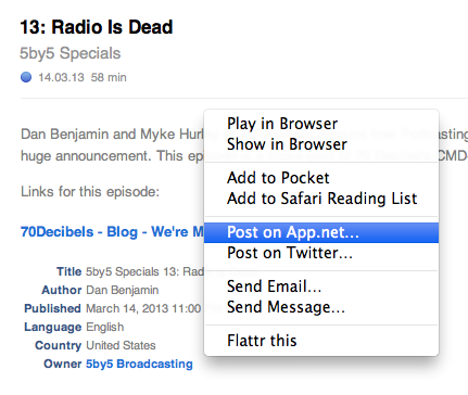 About the future sharing functionality in Instacast, I ask you folks last week. This is what I have so far. http://t.co/jYW1i6VvAP