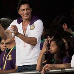 Aryan's back from school during a break. Shah Rukh, Suhana, Aryan were seen cheering for KKR. http://t.co/o1f53lZUVI