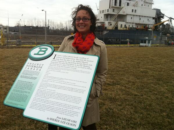 RT @BookmarkCanada: Visiting Port Colborne, site of Bookmark #10, Sheree-Lee Olson's SAILOR GIRL with @GenevieveAHill. http://t.co/7YbwSNUBdC
