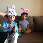 Happy Easter...KaiZen in rabbit ears after a yum Easster Eggy Hunt:) and Zen sayin Ribbit Our show 1030am @ColorsTV