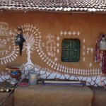 A house beautifully decorated with Warli Painting ( a folk style of painting) from the set of #GulaabGang.