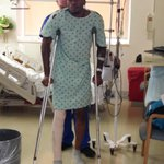 Kevin Ware already up on crutches (and wearing his regional champs hat) after surgery last night.
