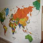 This map of the world wall paper is by geo nova. Alexis put it up on the playroom wall sand Jude,2, already knows NYC
