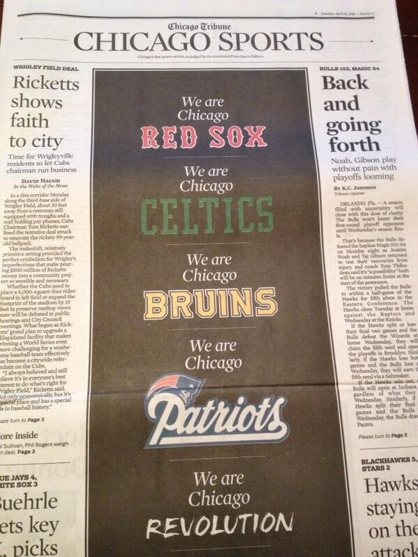 The @chicagotribune devotes the cover of its sports section to Boston today: (cc @richarddeitsch @romenesko) http://t.co/yuZfowmBoD