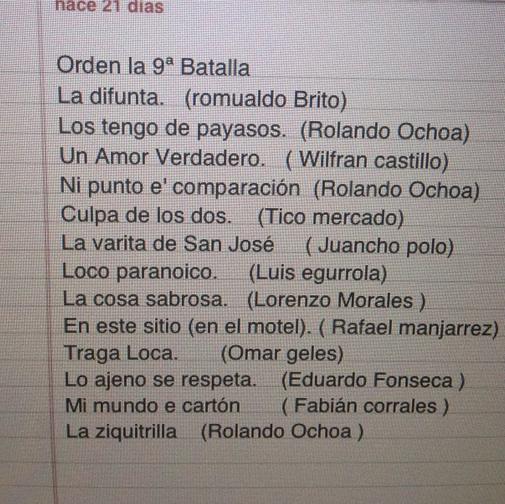 La Novena Batalla - Lista de Canciones de La Novena Batalla @SilvestreFDC @Rolando_8A http://t.co/XstVKSS3Cy