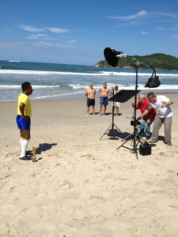 Shooting Pele on a beach outside Santos, He's such a sport. Making himself available to every kid on the beach. http://t.co/whywmegGRV