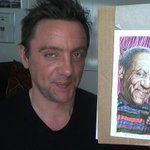 MT @fantagraphics: Eeeee, it's  @serafinowicz posing with his Drew Friedman portrait of Bill Cosby!