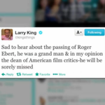 RT @NewsBreaker: Celebrity tweets in honor of Roger #Ebert: (WATCH) http://t.co/o73C5nFl2z