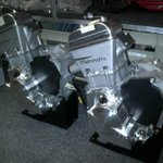 The heart of the 2 Mahindra MGP3O racing bikes ....the Mahindra MS-250M3O engines.