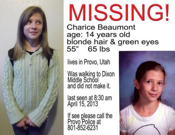 MISSING CHILD ALERT: Charice Beaumont http://t.co/QTE0okXSZ9