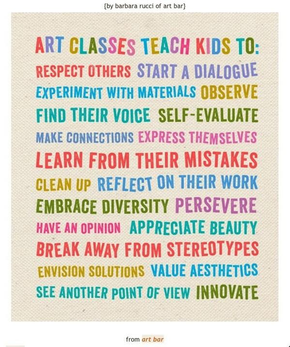 RT @mrszickartchick  Why is Art Education important? #artsed #arted #art #edu #edchat http://t.co/Ufp35IUkWK
