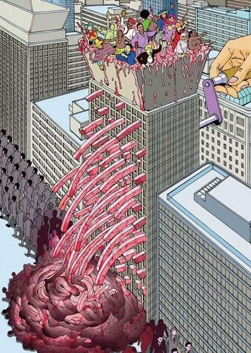 """RT @pauloza: """"Sociedad o Carmicería?"""" vía DibujARTE - #Ilustración #Reflexión http://t.co/f0HRO5GVwU"""