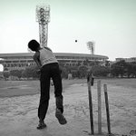 Fan picture on #TheStands. A game of cricket near the Eden Gardens. http://t.co/5Vl9pgovyH