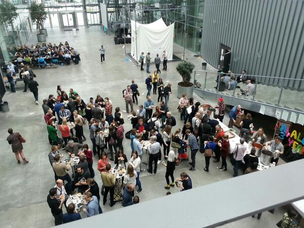 Barcampers hanging out between sessions at Copenhagen's IT University; photo by @andersmn