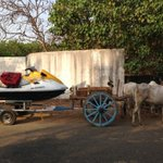 Only in incredible India..Jet skis being towed by a bullock cart... http://t.co/MGQ8ItxRR2