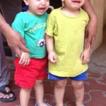 Twins in my building,ARAV n ANSH ,when one cries the other one cries automatically. So cute.